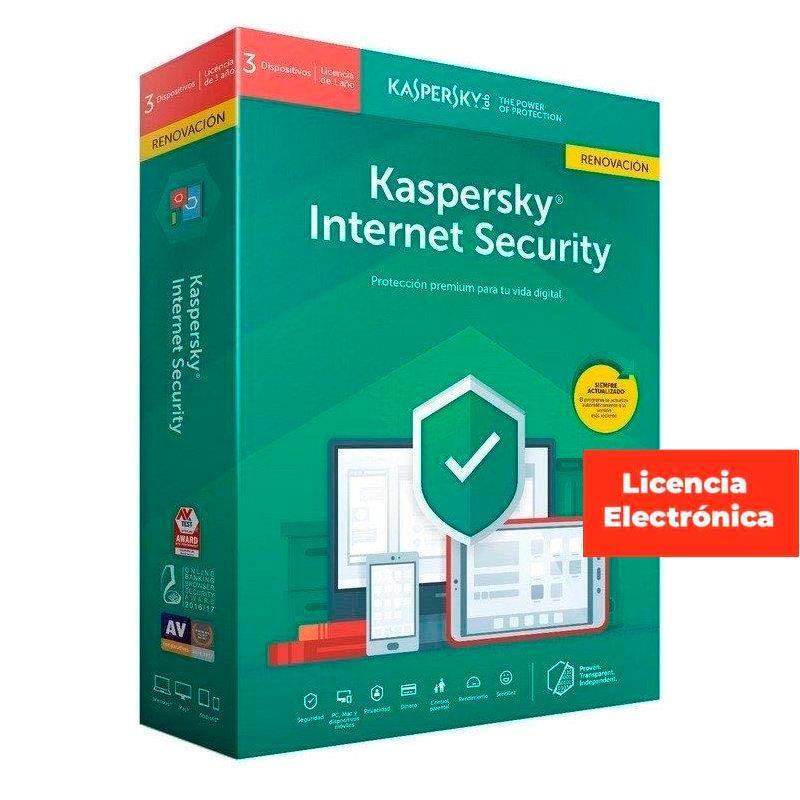 ANTIVIRUS KASPERSKY 2020 INTERNET SECURITY MULTIDEVICE 3 LIC. ELECTRONICAS