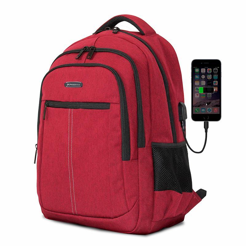 MOCHILA PHOENIX BOSTON 15.6 RED + CABLE USB