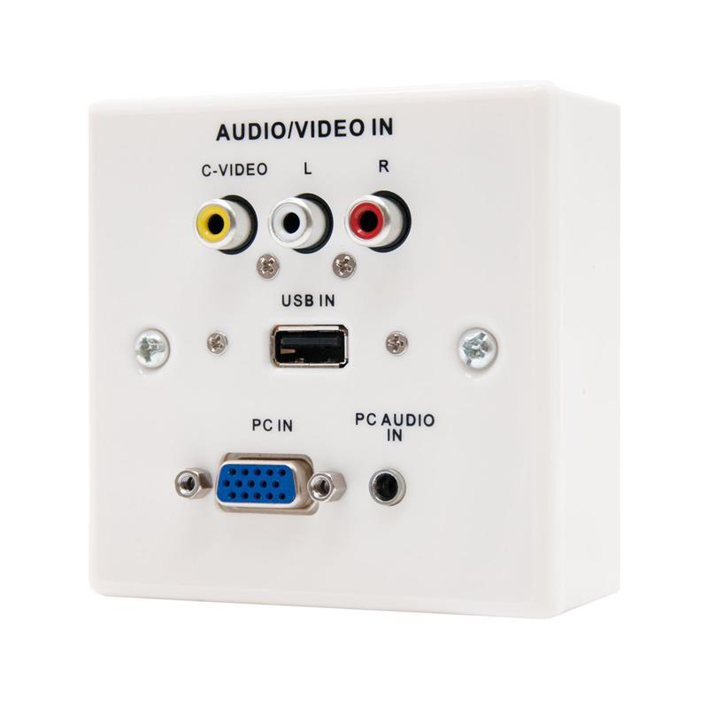 REGLETA DE PARED NANOCABLE VGA+USB+RCA+AUDIO