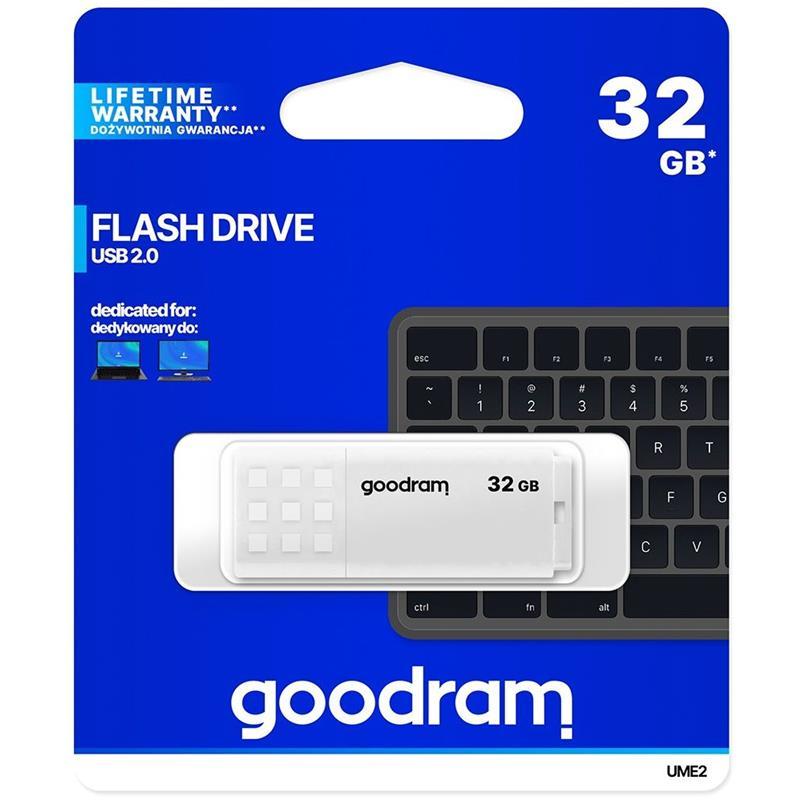 PEN DRIVE 32GB GOODRAM UME2 USB 2.0 WHITE
