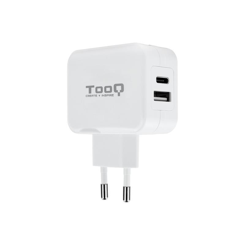 CARGADOR SMARTPHONE/TABLET TOOQ USB 3.0 + USB-C 27W WHITE