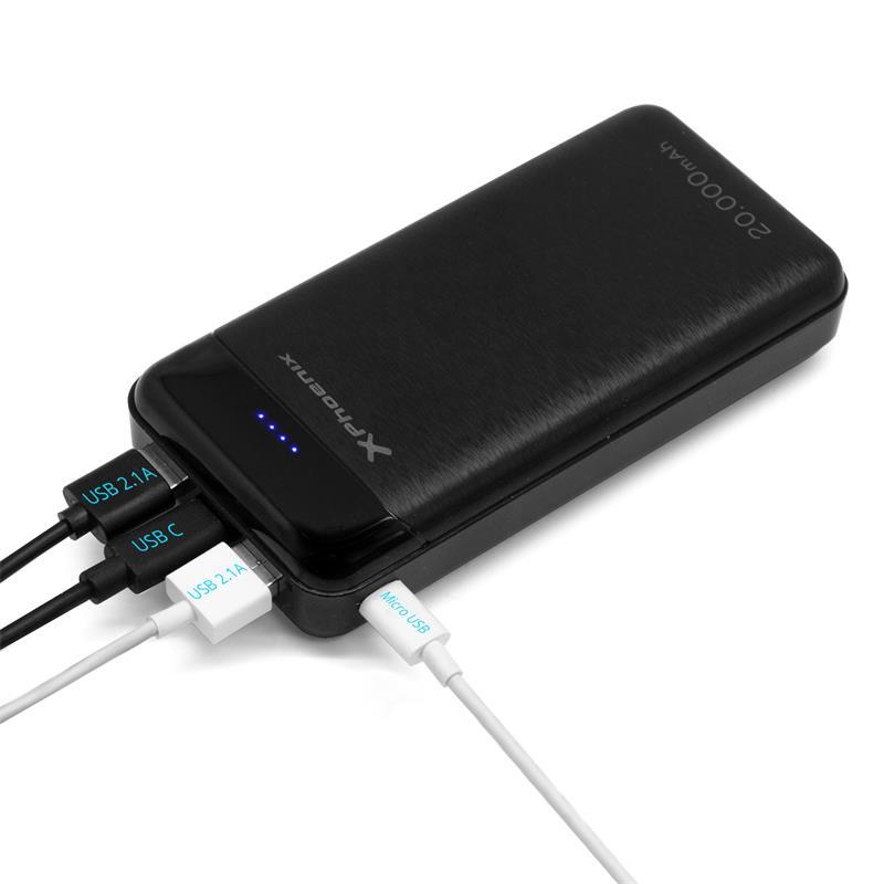POWERBANK PHOENIX 20000MAH USB TYPEC + MICRO USB 2.1A