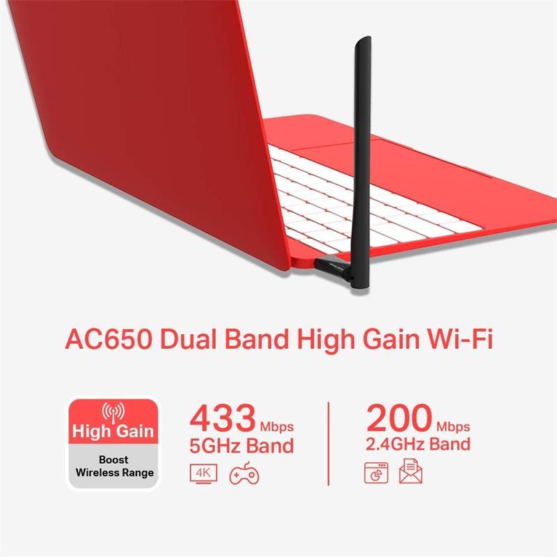 WIRELESS ADAPTADOR USB MERCUSYS AC650 DUAL BAND 5DBI